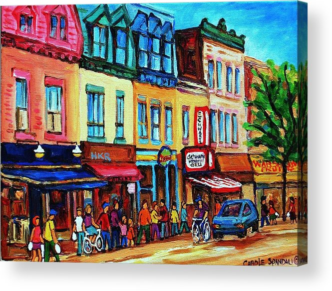 Cityscape Acrylic Print featuring the painting Lineup For Smoked Meat Sandwiches by Carole Spandau
