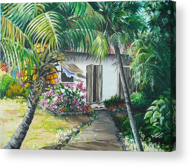 Caribbean Painting Typical Country House In Trinidad And The Islands With Coconut Tree Tropical Painting Acrylic Print featuring the painting Little West Indian House 2...sold by Karin Dawn Kelshall- Best
