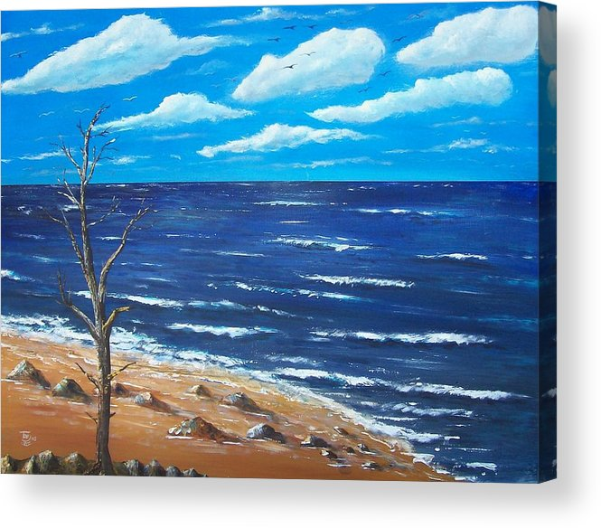 Seascape Acrylic Print featuring the painting Lone Tree Seascape by Tony Rodriguez
