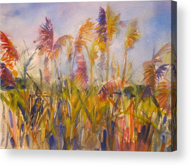 Landscape Acrylic Print featuring the painting Long Island Marsh by Joyce Kanyuk