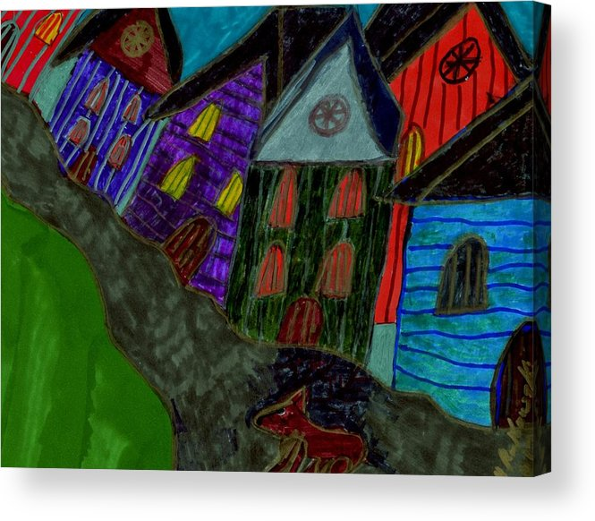 Dog Walking In The Street Through A Village Acrylic Print featuring the mixed media Lost Dog by Elinor Helen Rakowski
