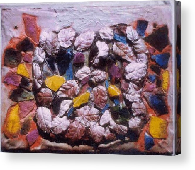 Broken Glass Cement Acrylic Print featuring the relief Lost Treasures.. by Rooma Mehra