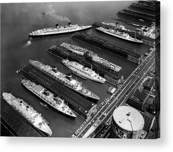 1960s Candids Acrylic Print featuring the photograph Luxury Liners Flanking An Aircraft by Everett