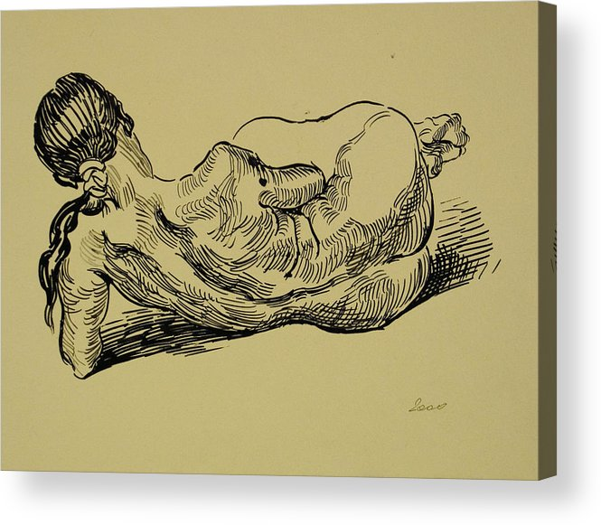 Woman Acrylic Print featuring the drawing Lying Nude Woman by Vitali Komarov
