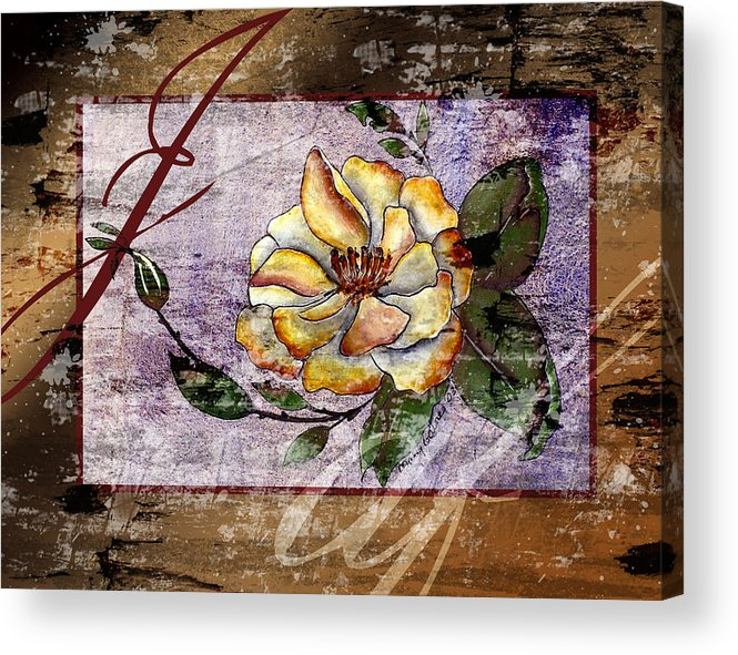 Magnolia Acrylic Print featuring the painting Magnolia In Limbo Dp19 by Mary Gaines