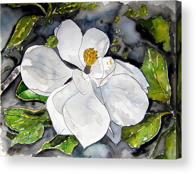 Magnolia Acrylic Print featuring the painting Magnolia Tree Flower by Derek Mccrea