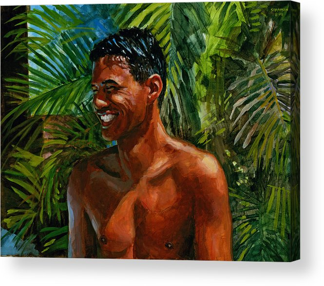 Hawaiian Acrylic Print featuring the painting Making Nohea Laugh by Douglas Simonson
