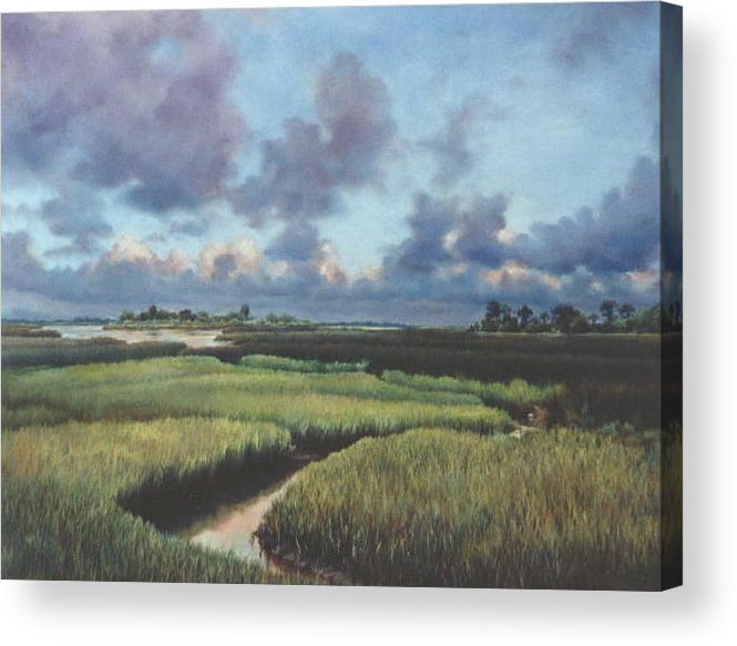 Water Acrylic Print featuring the painting Marsh Dawn by Marion Hylton