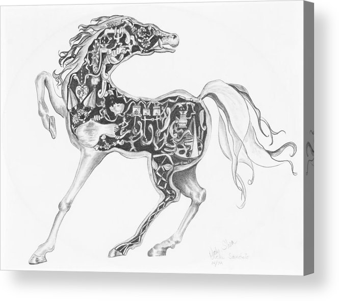 Drawing Acrylic Print featuring the drawing Mechanical Horse by Victoria Shea