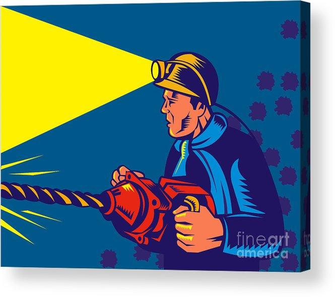 Illustration Acrylic Print featuring the digital art Miner With Jack Drill by Aloysius Patrimonio