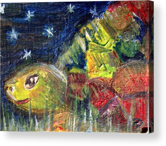 Turtle Acrylic Print featuring the painting Mister Turtles Night Out by Dille Ferrer