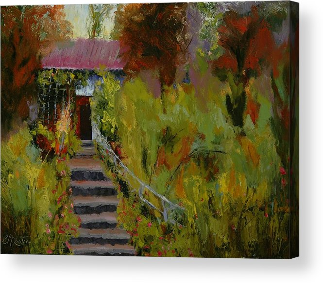 Landscape (framed) Acrylic Print featuring the painting Monet's Garden Cottage by Colleen Murphy