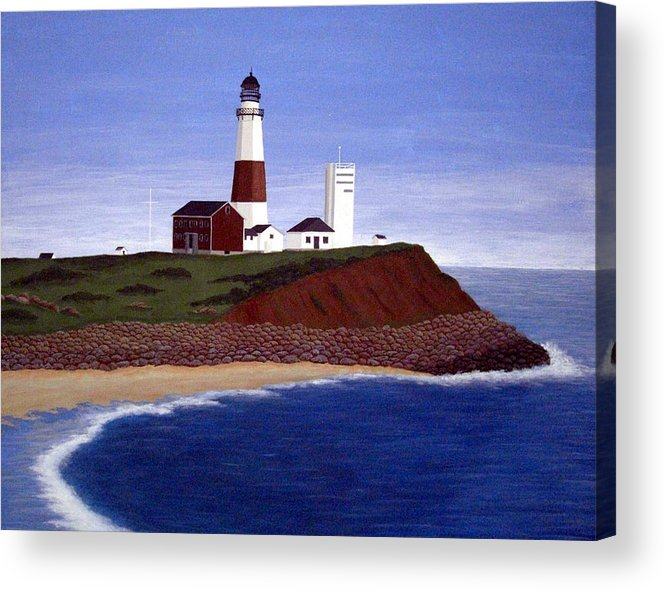 Lighthouse Paintings Acrylic Print featuring the painting Montauk Point Lighthouse by Frederic Kohli