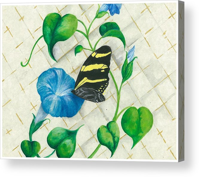 Morning Glories Acrylic Print featuring the painting Morning Glories And Butterfly by Sally Balfany