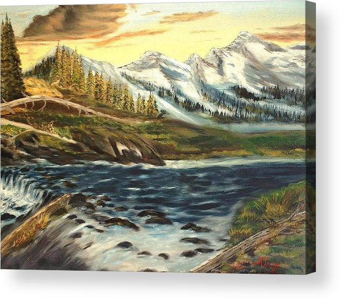 Landscape Acrylic Print featuring the painting Mountain River by Kenneth LePoidevin