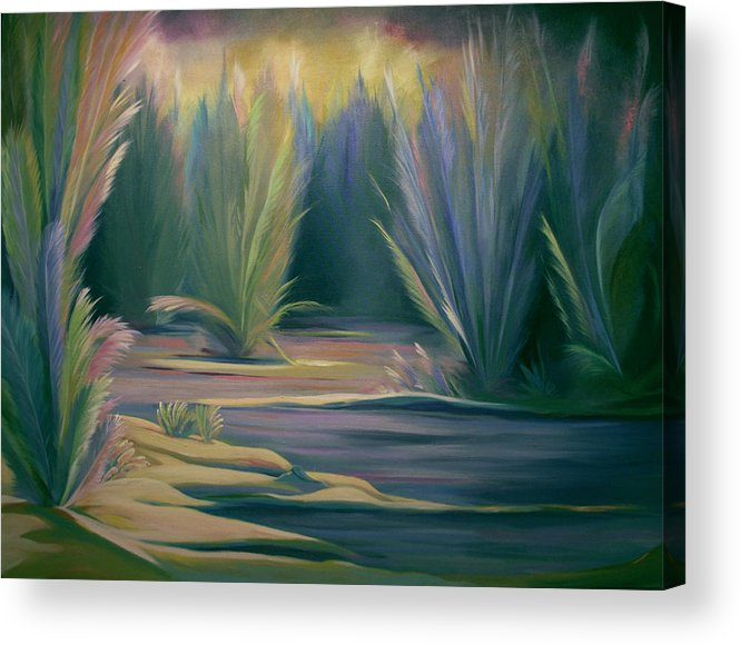 Feathers Acrylic Print featuring the painting Mural Field Of Feathers by Nancy Griswold