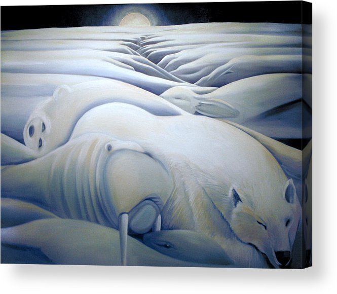 Mural Acrylic Print featuring the painting Mural Winters Embracing Crevice by Nancy Griswold