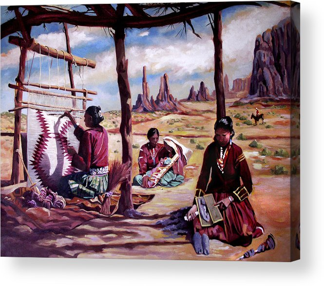 Native American Acrylic Print featuring the painting Navajo Weavers by Nancy Griswold