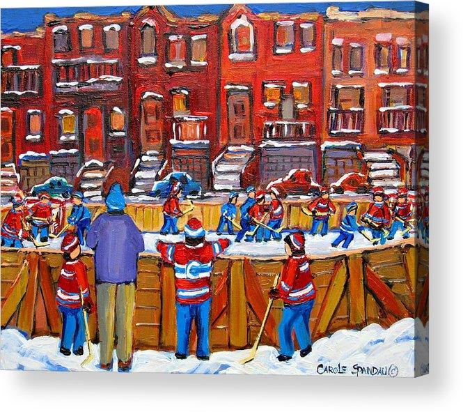 Hockeygame At The Neighborhood Rink Acrylic Print featuring the painting Neighborhood Hockey Rink by Carole Spandau