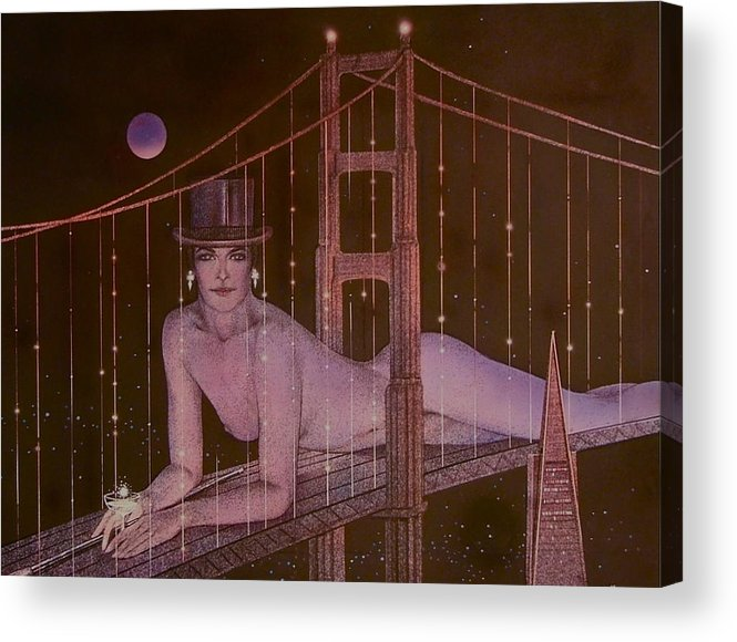 Female Acrylic Print featuring the painting New Years On The Golden Gate by Gary Kaemmer