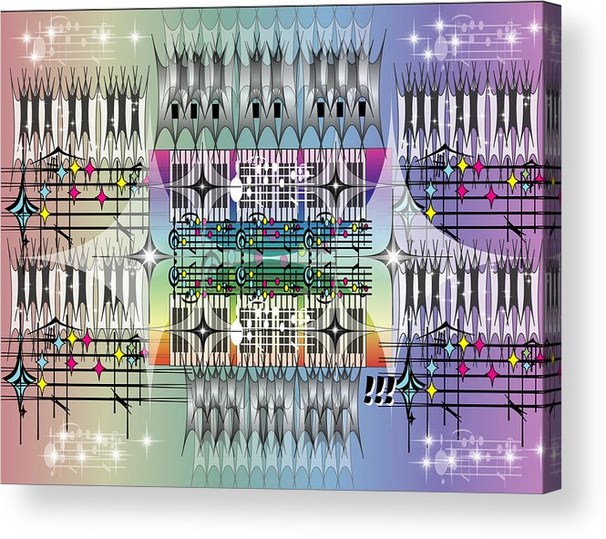 Music Acrylic Print featuring the digital art Night Pianos by George Pasini