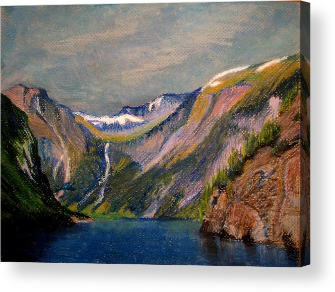 Norway Acrylic Print featuring the painting Norwegian Fjord by Art Nomad Sandra Hansen
