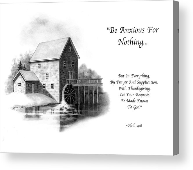 Bible Acrylic Print featuring the drawing Old Mill In Pencil With Bible Verse by Joyce Geleynse
