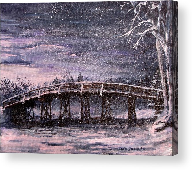 Old North Bridge Acrylic Print featuring the painting Old North Bridge In Winter by Jack Skinner