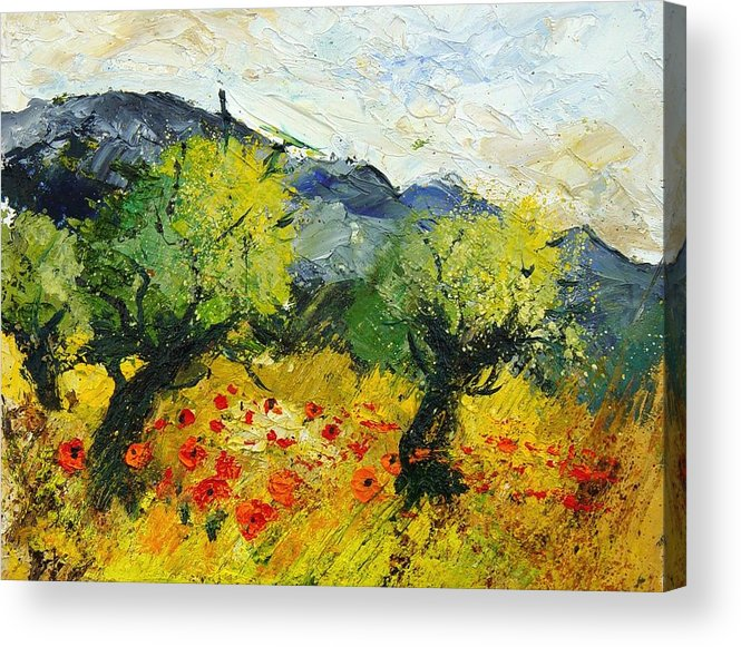 Flowers Acrylic Print featuring the painting Olive Trees And Poppies by Pol Ledent