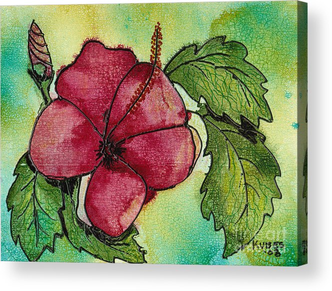 Flower Acrylic Print featuring the painting One Pink Hibiscus by Susan Kubes