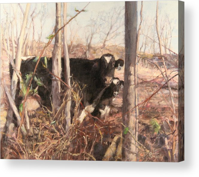 Cow Acrylic Print featuring the painting Onlookers No.2 by Robert Tutsky