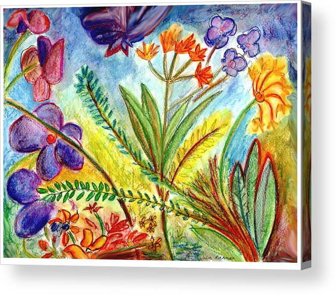 Flowers Acrylic Print featuring the painting Orchids And More by Julie Richman