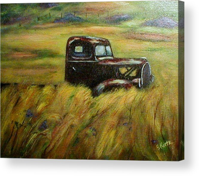 Vintage Truck Acrylic Print featuring the painting Out To Pasture by Gail Kirtz