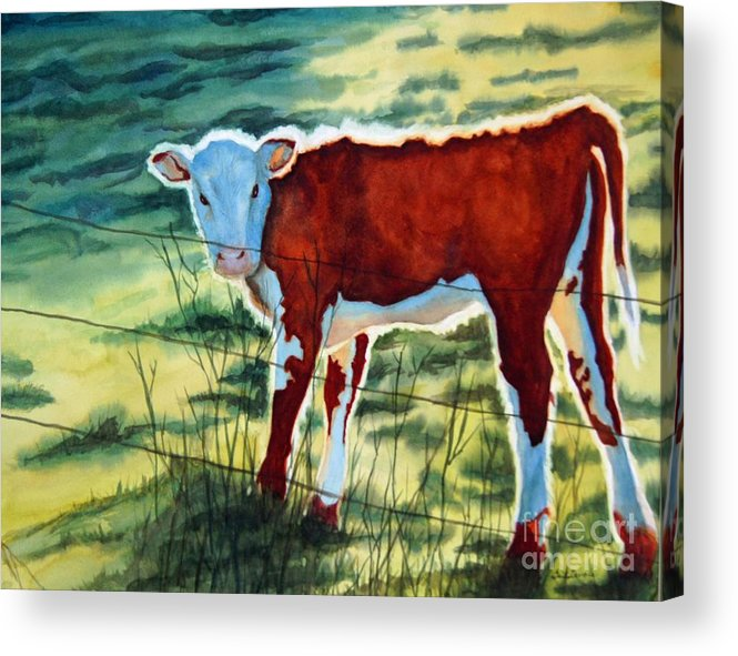Animal Acrylic Print featuring the painting Outstanding In His Field by Gail Zavala