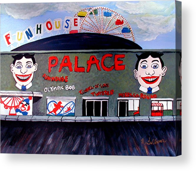 Tillie Acrylic Print featuring the painting Palace Amusements Asbury Park Nj by Norma Tolliver