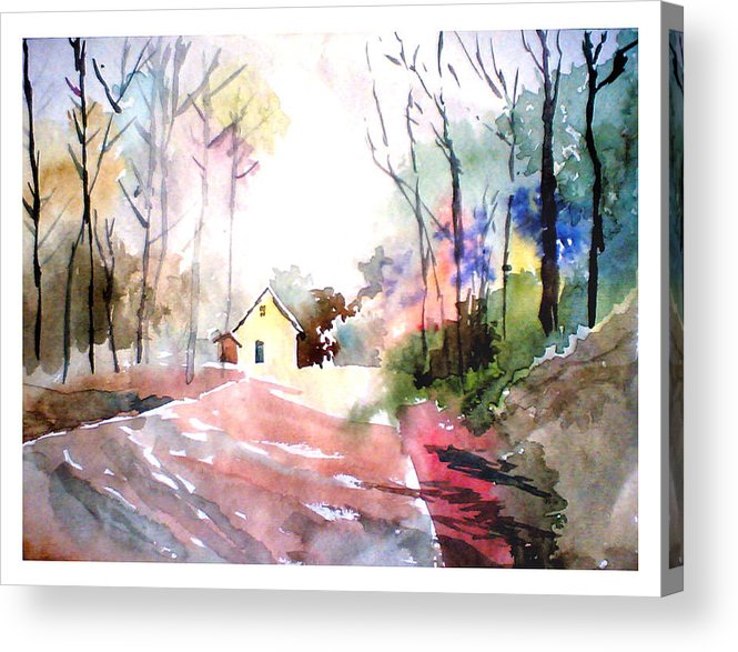 Nature Acrylic Print featuring the painting Path In Colors by Anil Nene
