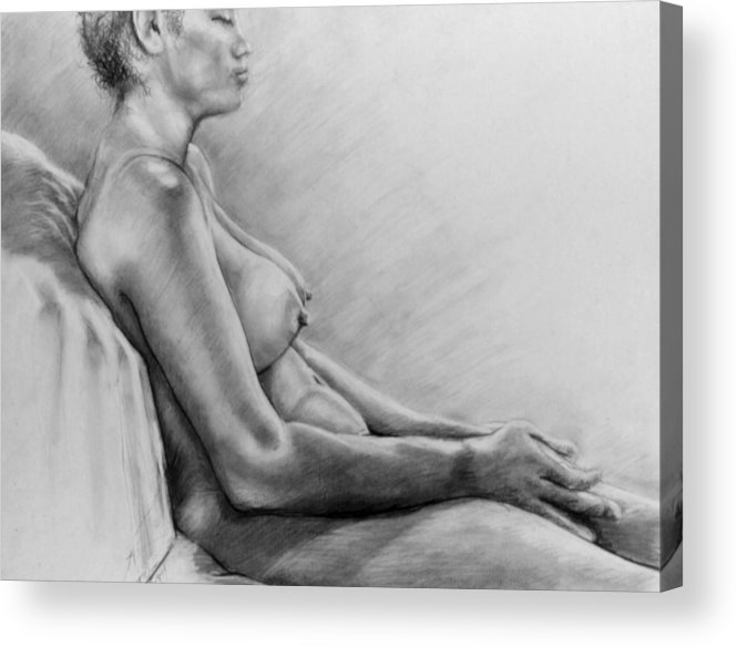 Woman Acrylic Print featuring the drawing Peace by John Clum
