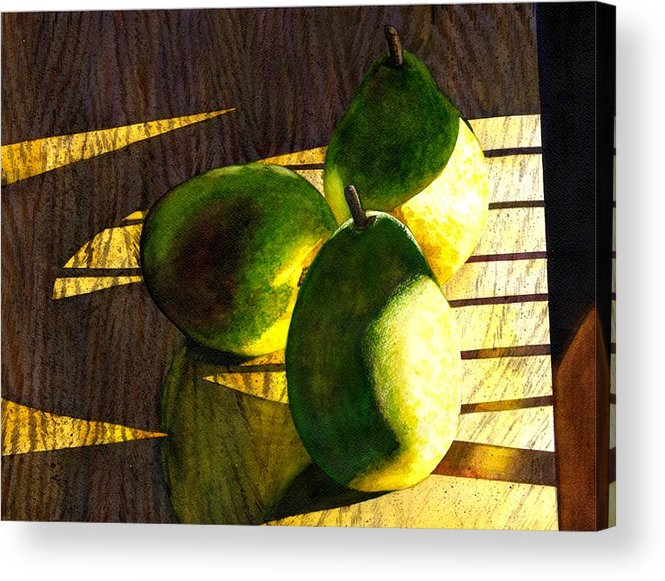 Pears Acrylic Print featuring the painting Pears No 3 by Catherine G McElroy