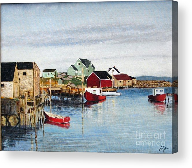 Seascape Acrylic Print featuring the painting Peggy's Cove by Donald Hofer
