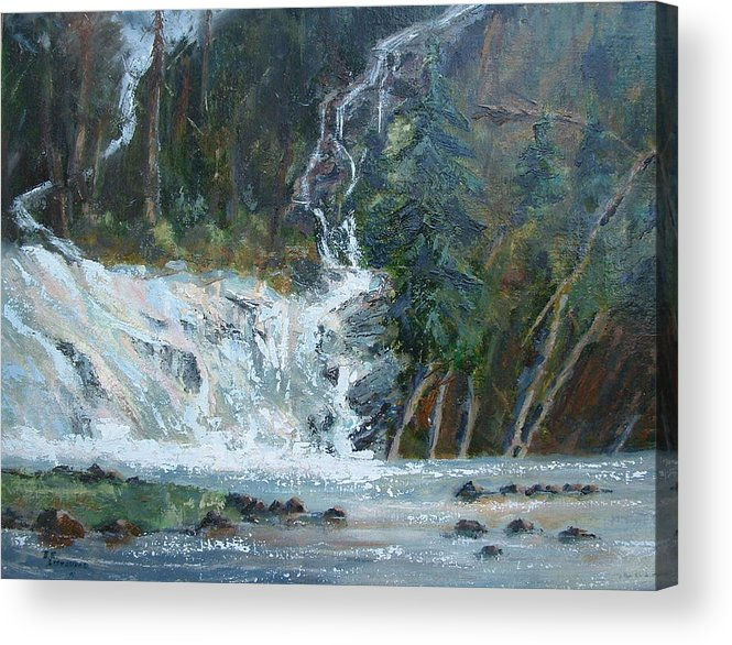 Landscape Acrylic Print featuring the painting Pelican Falls by Bryan Alexander