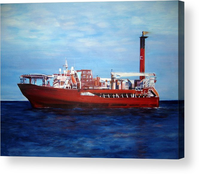 Ship Acrylic Print featuring the painting Petrojarl Banff by Fiona Jack