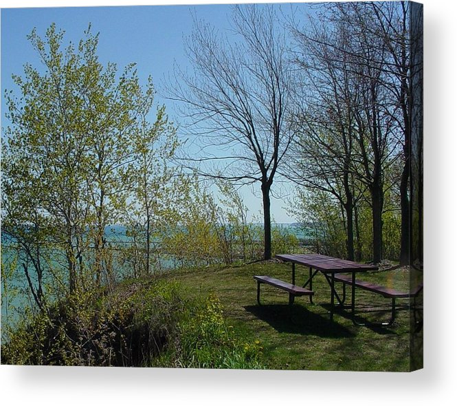 Lake View Acrylic Print featuring the photograph Picnic Table By The Lake Photo by Anita Burgermeister