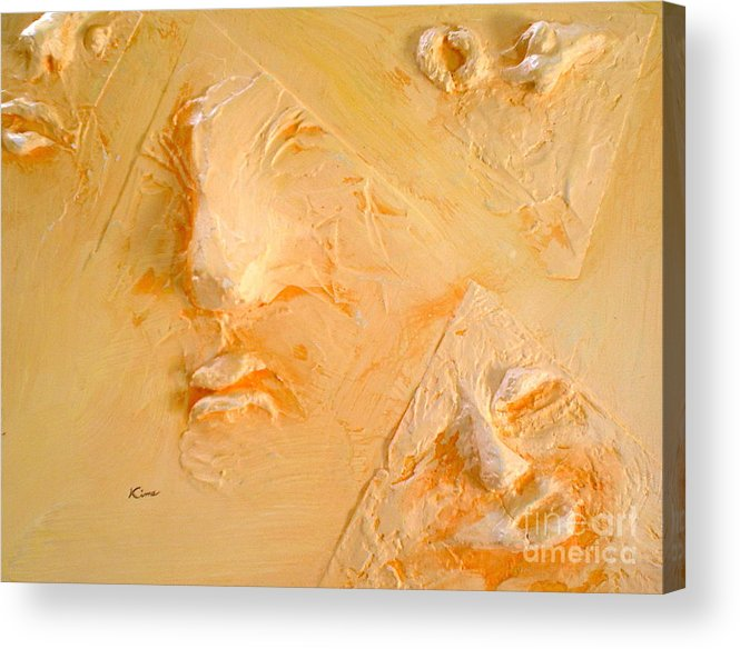 Portraits Acrylic Print featuring the painting Plastic Wraps by Kime Einhorn