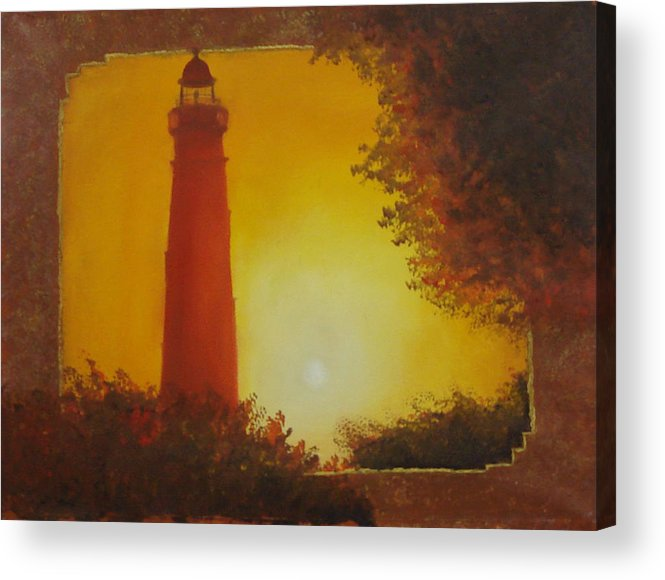 Lighthouse Acrylic Print featuring the painting Ponce Inlet Lighthouse by Darlene Green