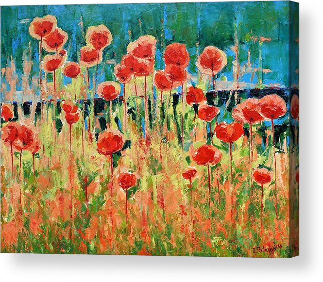 Poppies Acrylic Print featuring the painting Poppies And Traverses 2 by Iliyan Bozhanov