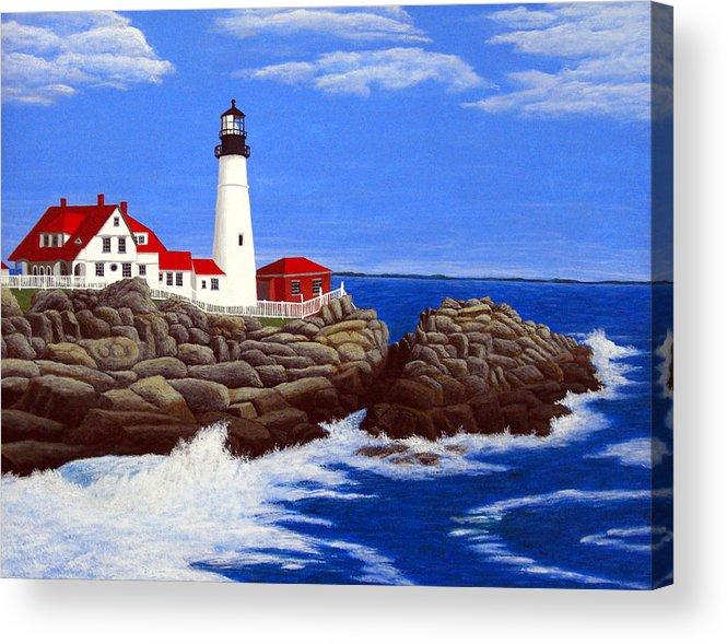 Art Acrylic Print featuring the painting Portland Head Lighthouse by Frederic Kohli