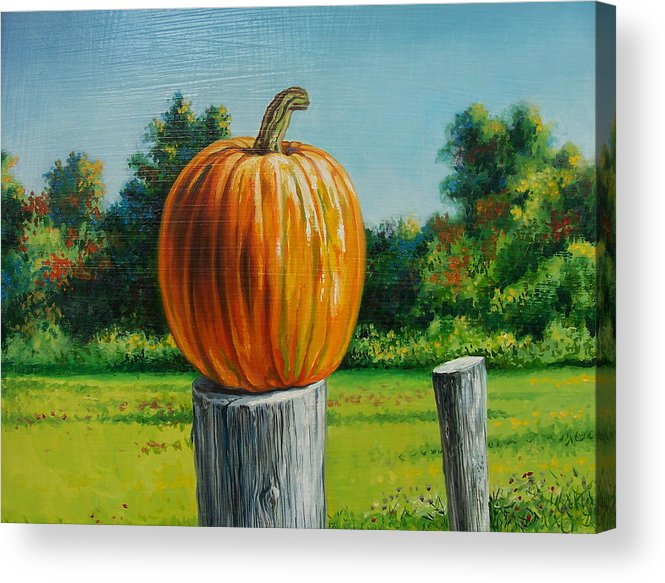 Still Life Acrylic Print featuring the painting Pumpkin Post by Arnold Hurley