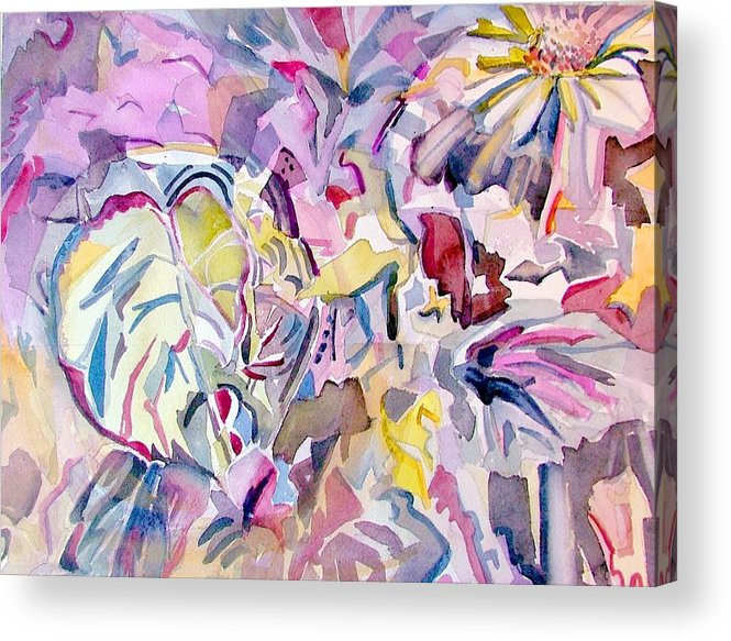 Abstract Acrylic Print featuring the painting Purple Maze by Mindy Newman