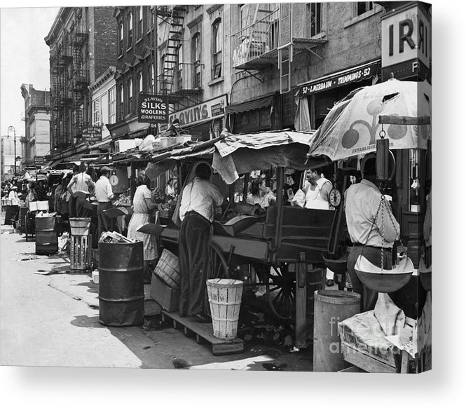 1939 Acrylic Print featuring the photograph Pushcart Market, 1939 by Granger
