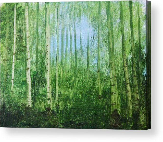 Woods Acrylic Print featuring the painting Quiet Stroll by Trilby Cole